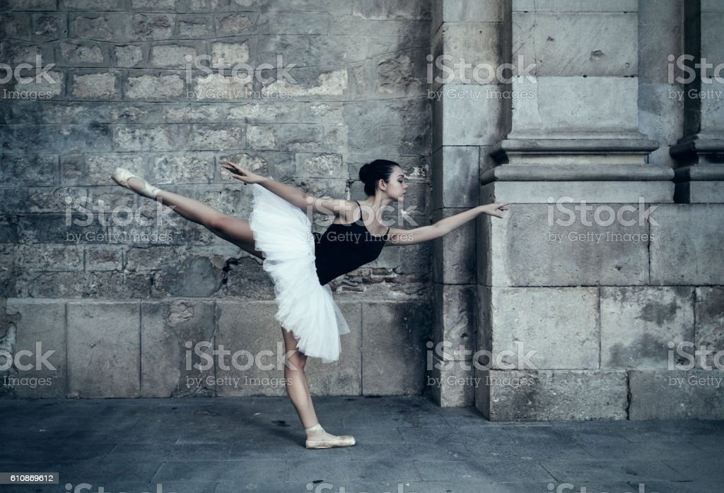 Ballet dancer performance in city streets stock photo