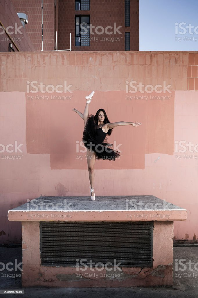 Ballet dancer performance in the city stock photo