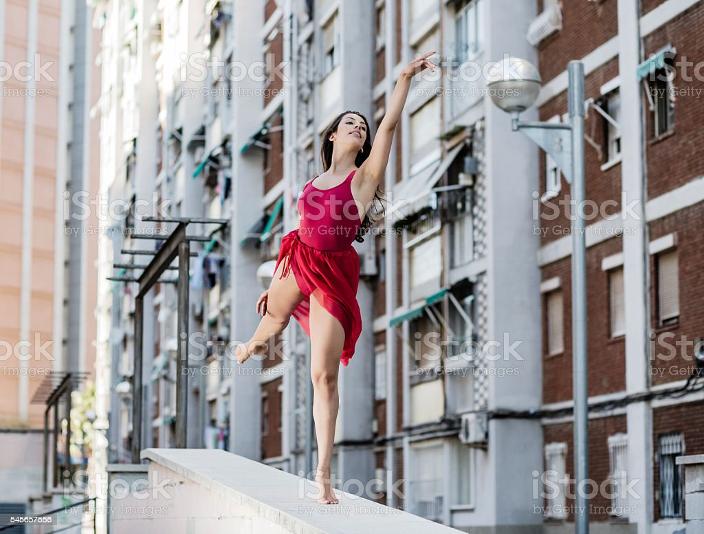 Ballet dancer performance in the city suburbs stock photo