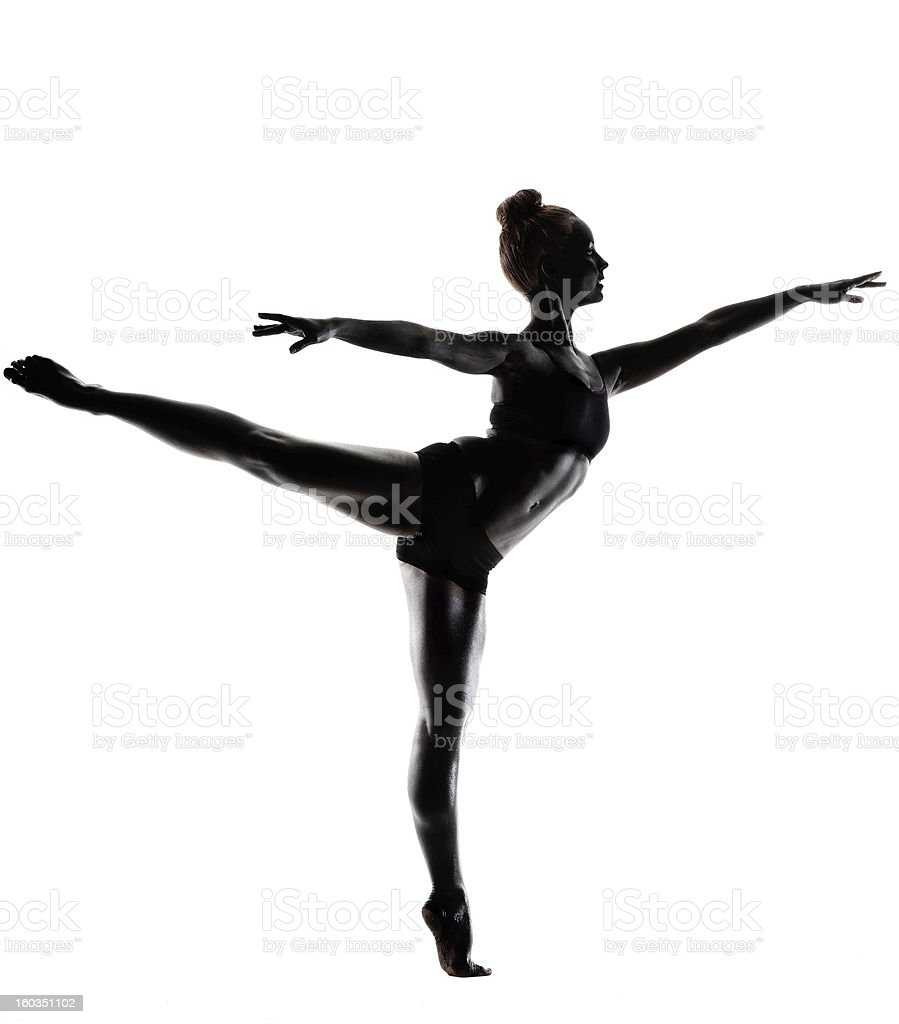 Ballet dancer silhouette in a pose stock photo
