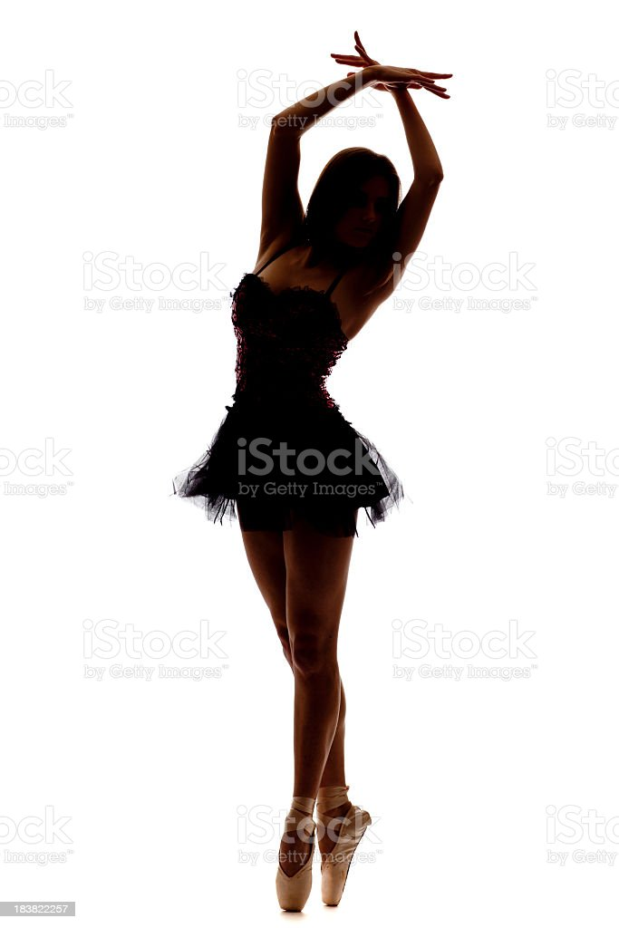 Ballet Dancer Silhouette isolated on white royalty-free stock photo