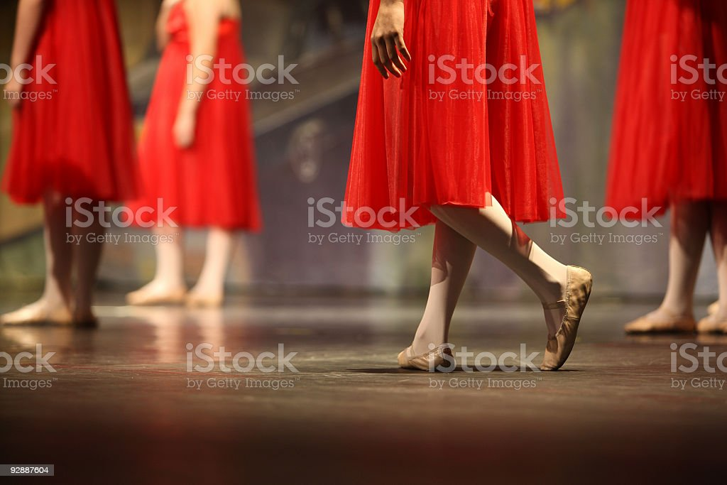 Ballet dancers on stage during rehearsal stock photo