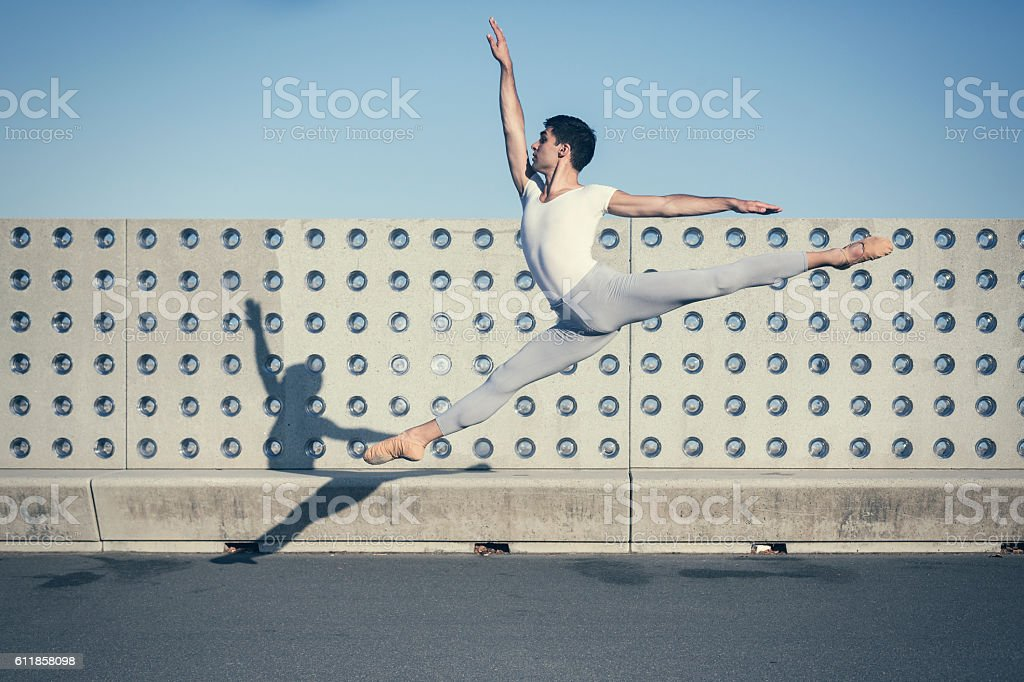 Ballet dancers performance in the city stock photo