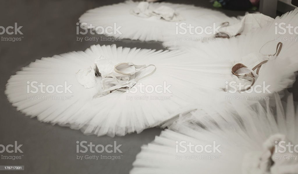 ballet dresses on the floor stock photo