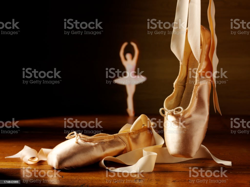 Ballet Shoes with a Ballerina Dancing royalty-free stock photo