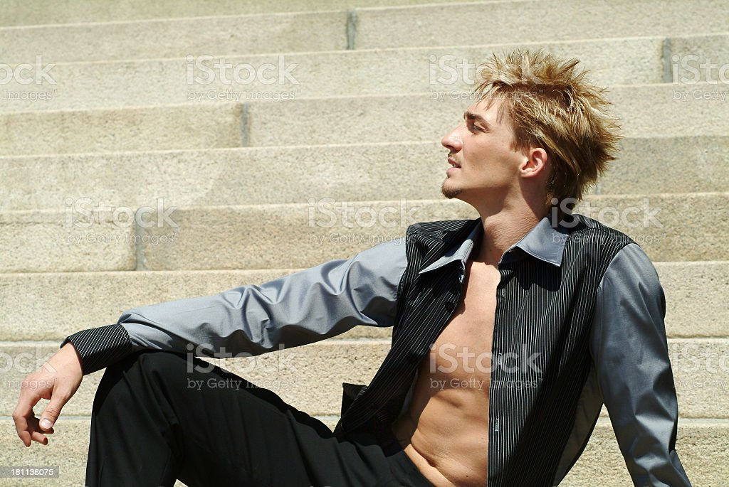 Balletdancer posing on stairs royalty-free stock photo