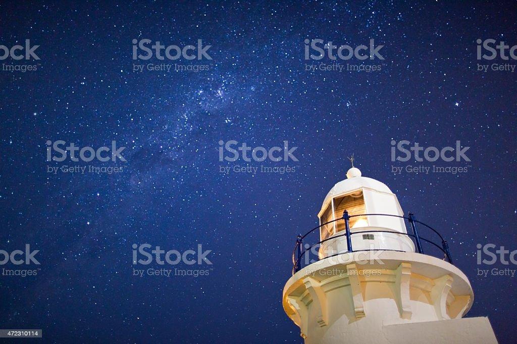 Ballina Lighthouse by Starlight stock photo