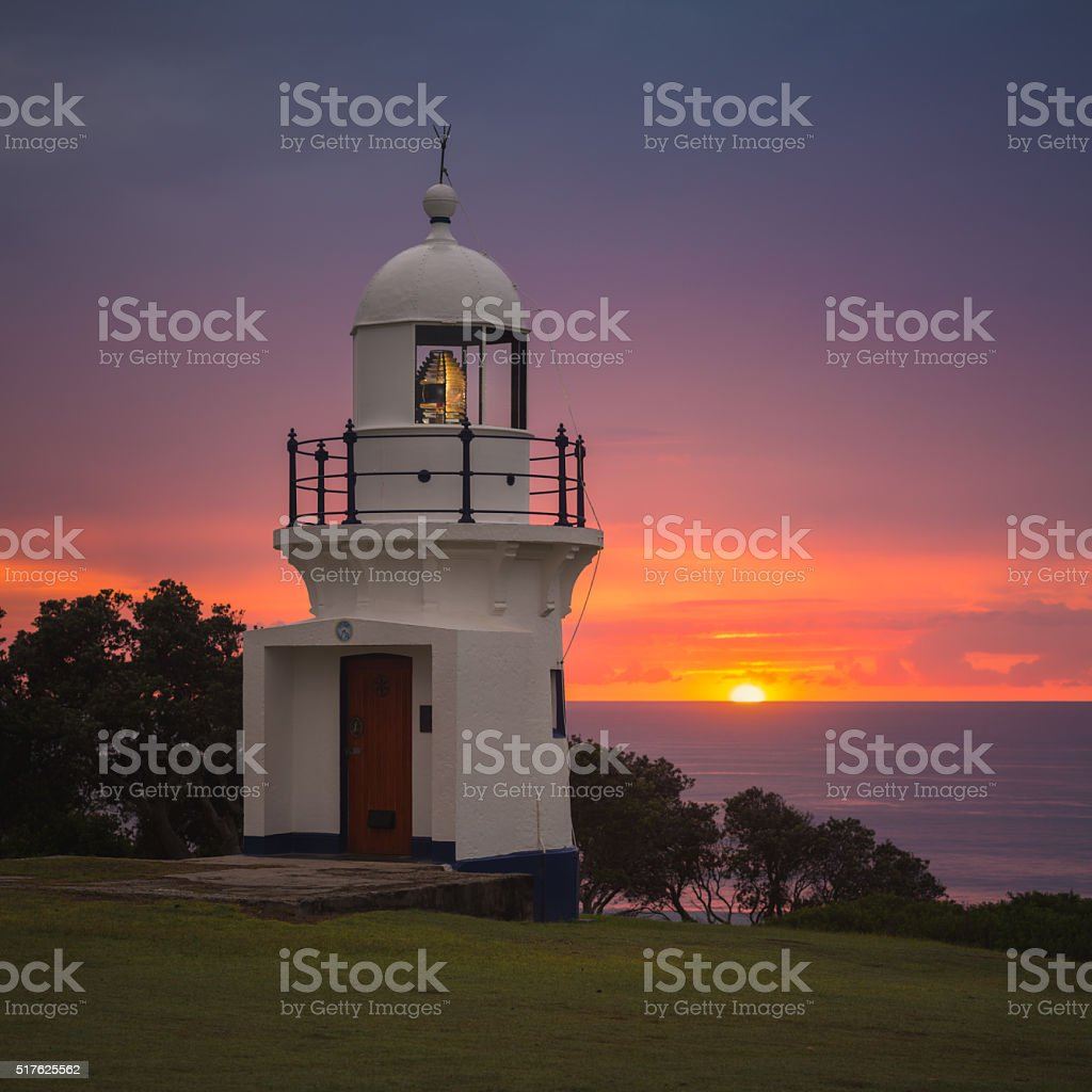 Ballina Lighthouse First Light stock photo
