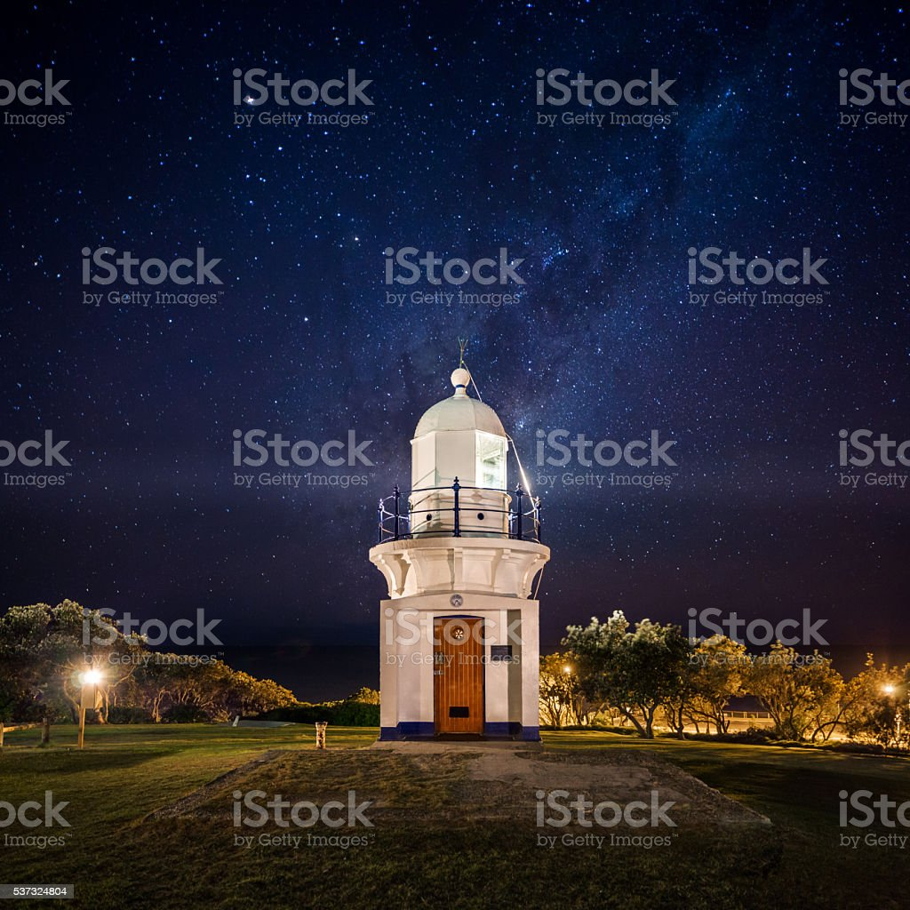 Ballina Lighthouse Under the Stars stock photo
