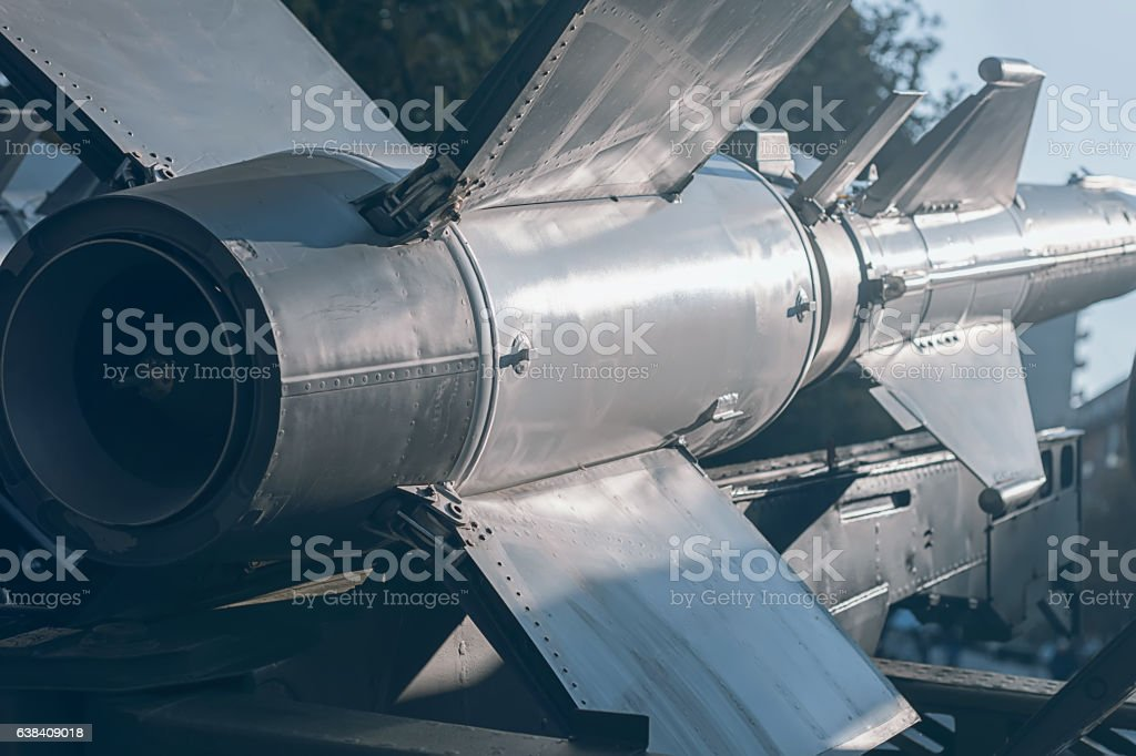 Ballistic Rocket. Nuclear Missile With Warhead. War Backgound. stock photo