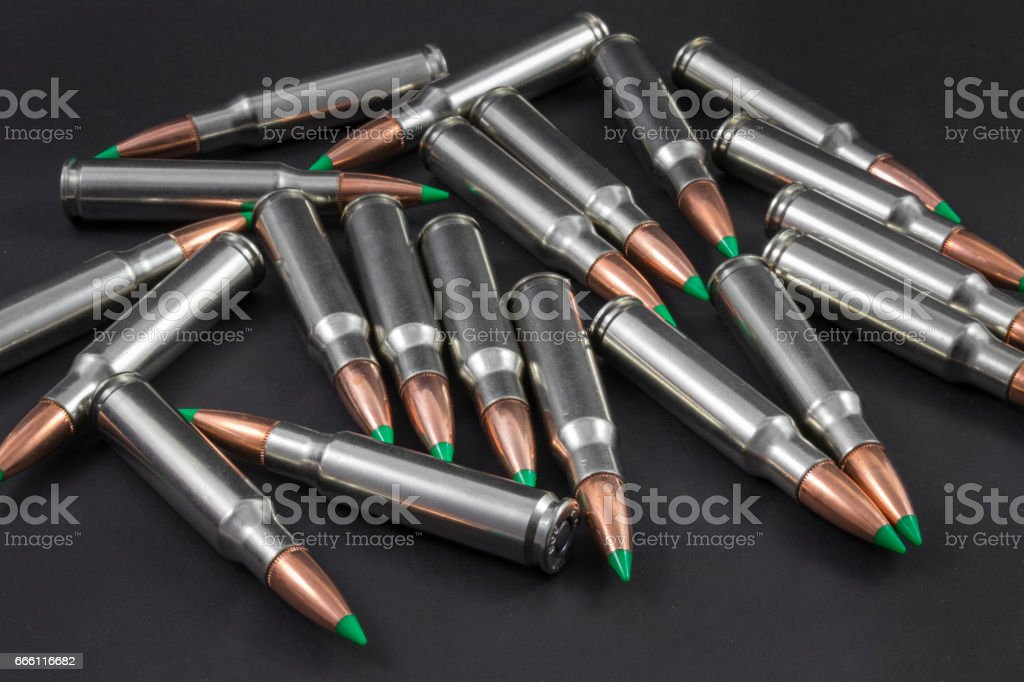 Ballistic Tip Rifle Ammo Pile stock photo