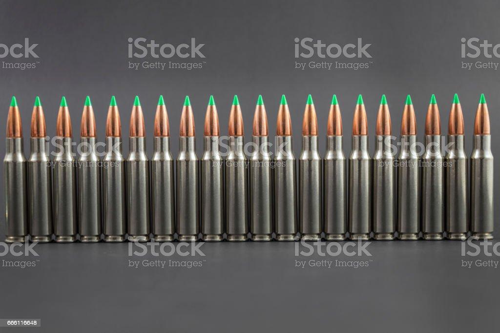 Ballistic Tip Rifle Ammo Row stock photo