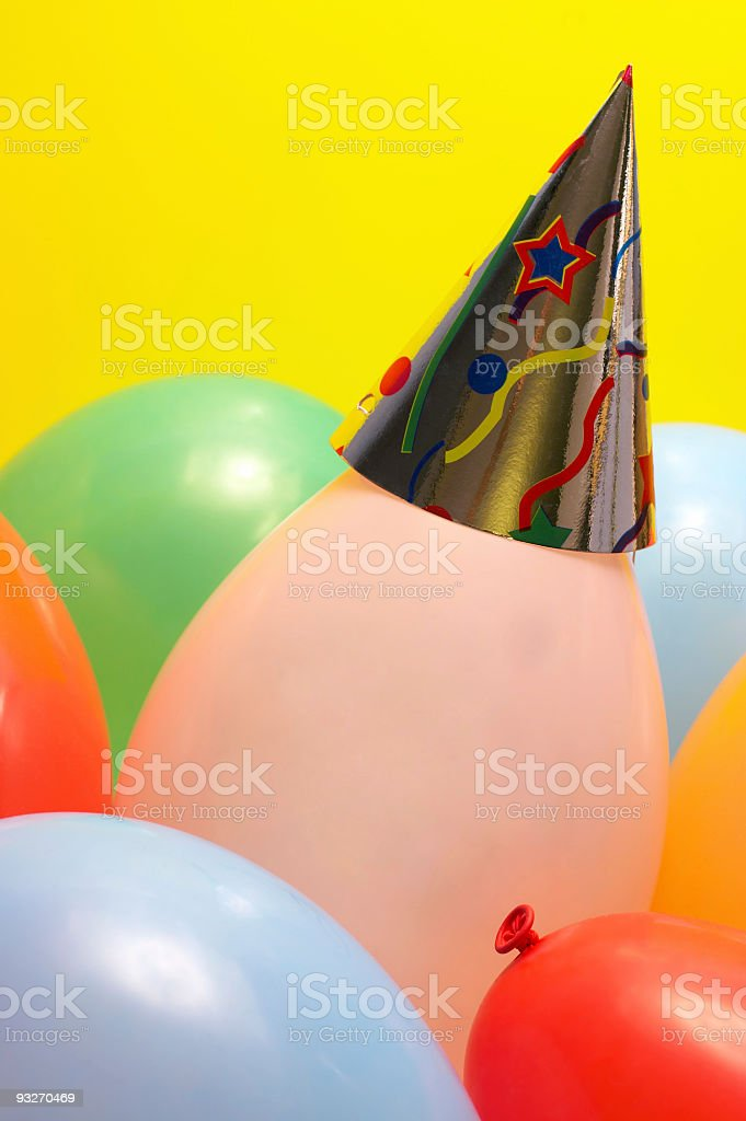Ballon with Party Hat royalty-free stock photo