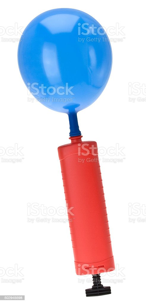 Ballonpumpe mit Luftballon stock photo