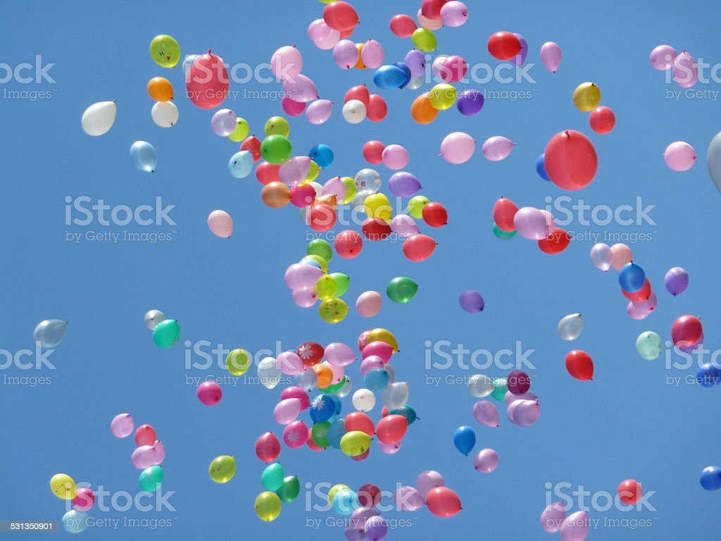 Ballons in the sky stock photo