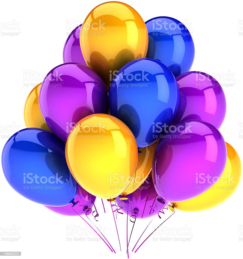 Ballons party decoration yellow blue purple royalty-free stock photo