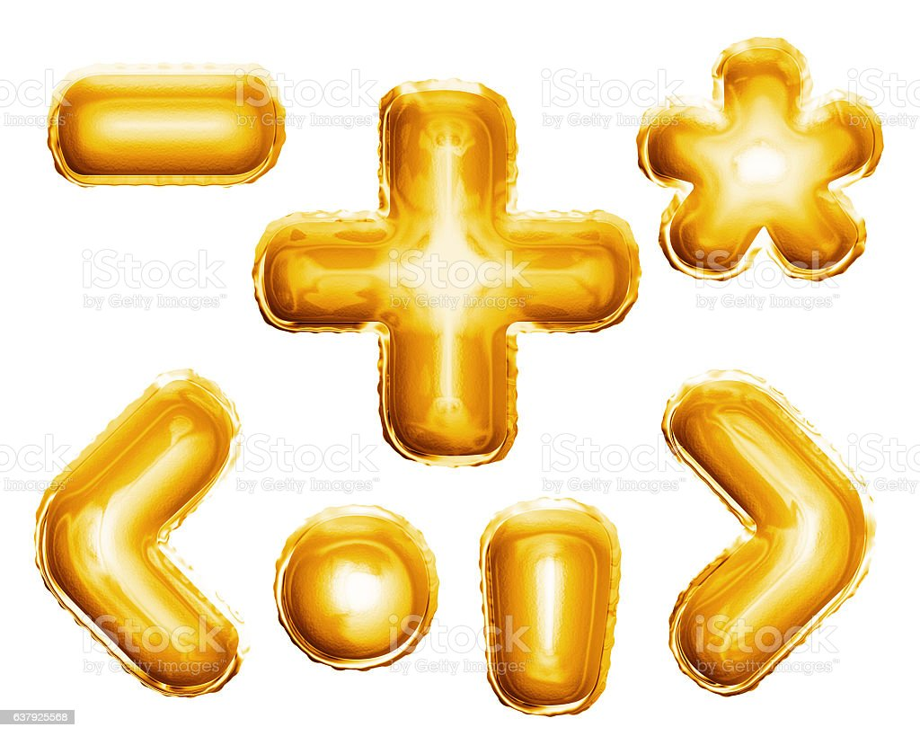 Balloon alphabet symbols signs 3D golden foil realistic stock photo