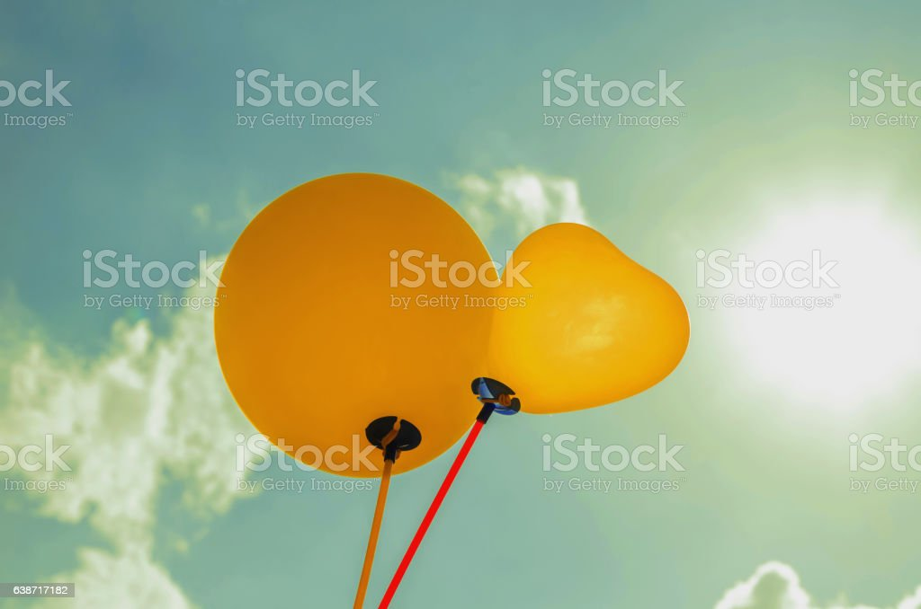 balloon and sunligh and blue sky background stock photo