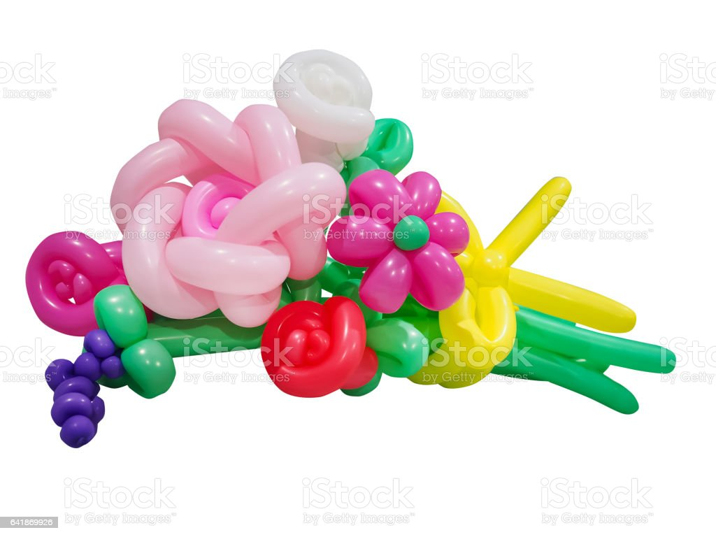 Balloon Bouquets isolated on white stock photo