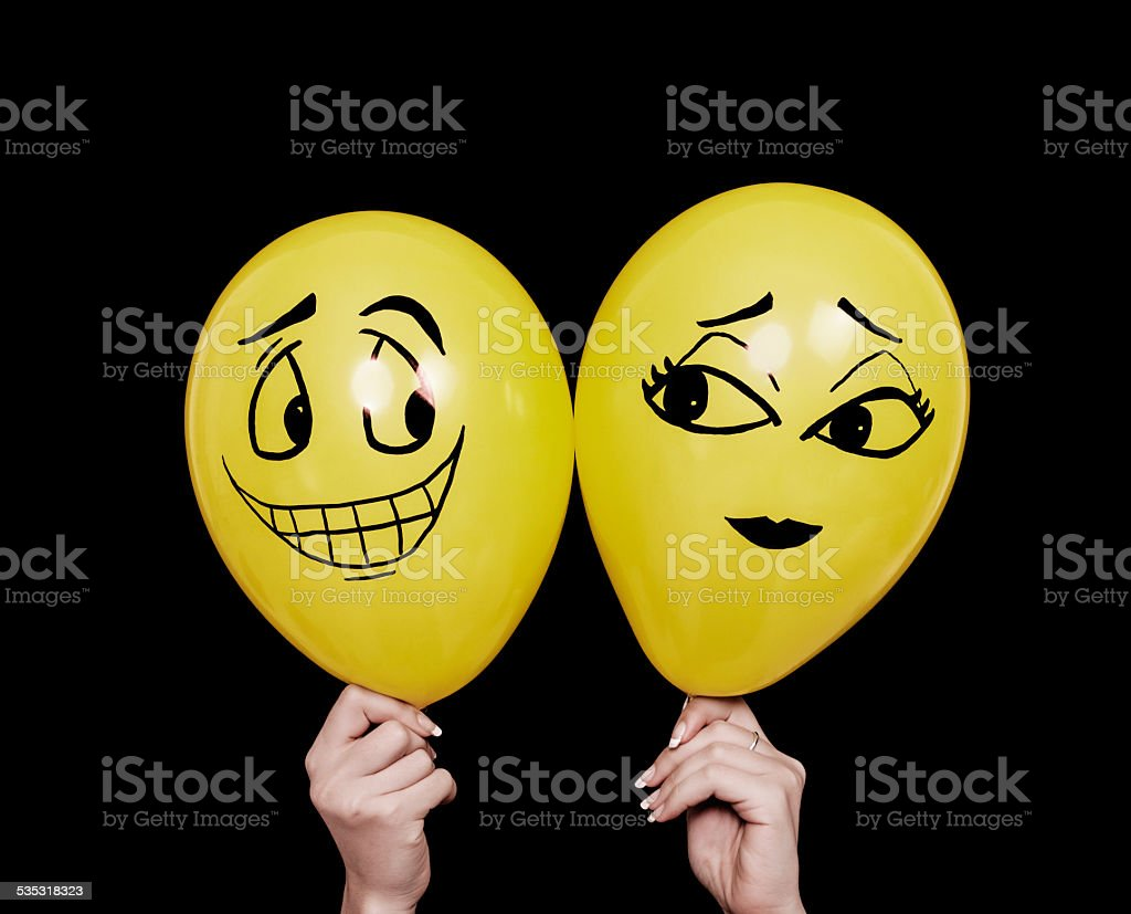 Balloon characters first date stock photo