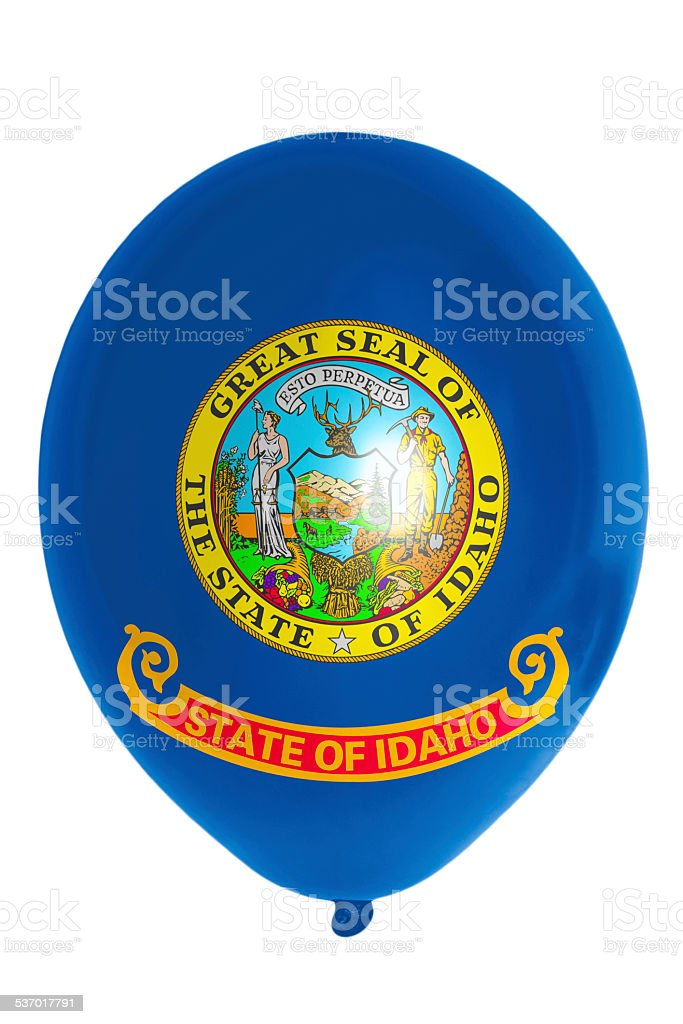 Balloon colored in flag of american state of idaho stock photo