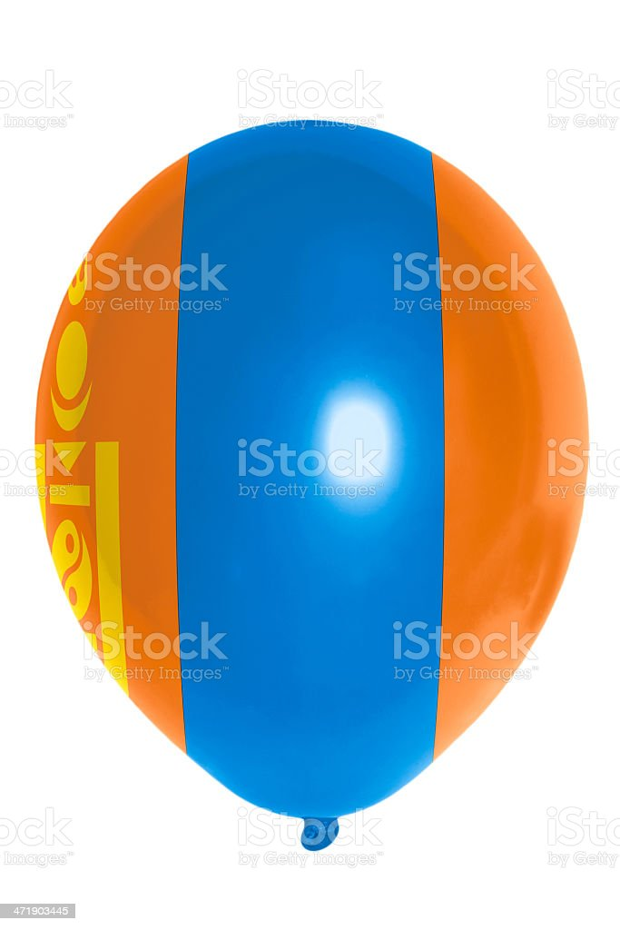 Balloon colored in  national flag of mongolia royalty-free stock photo