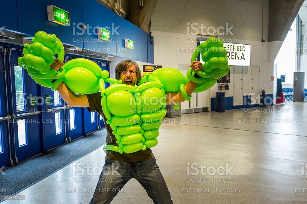 Balloon costume of the 'Incredible Hulk' stock photo