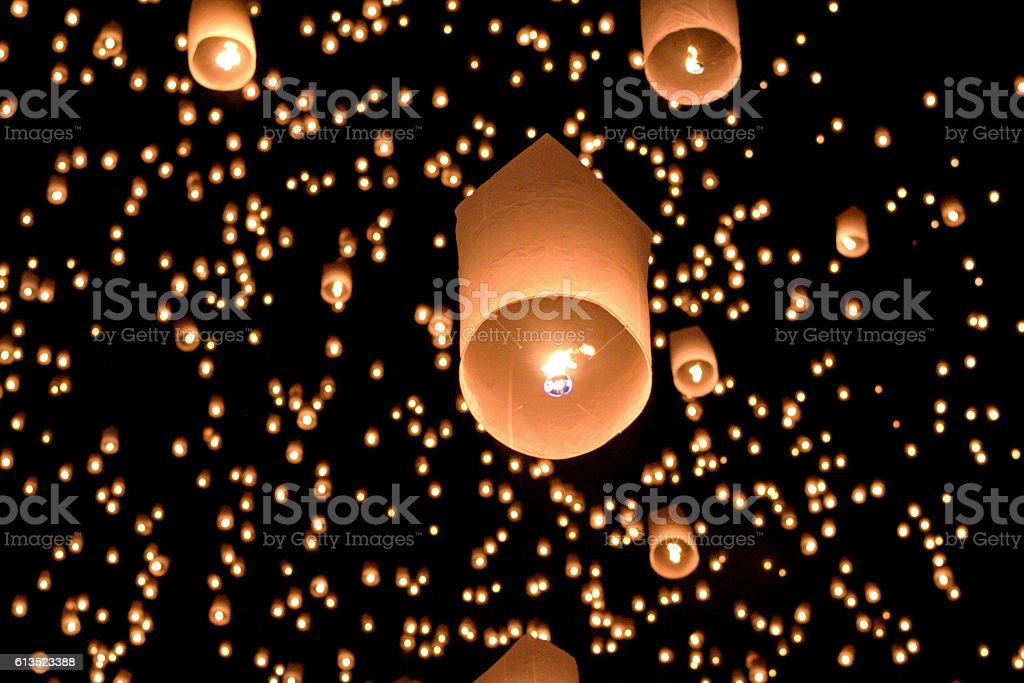 balloon fire thailand stock photo