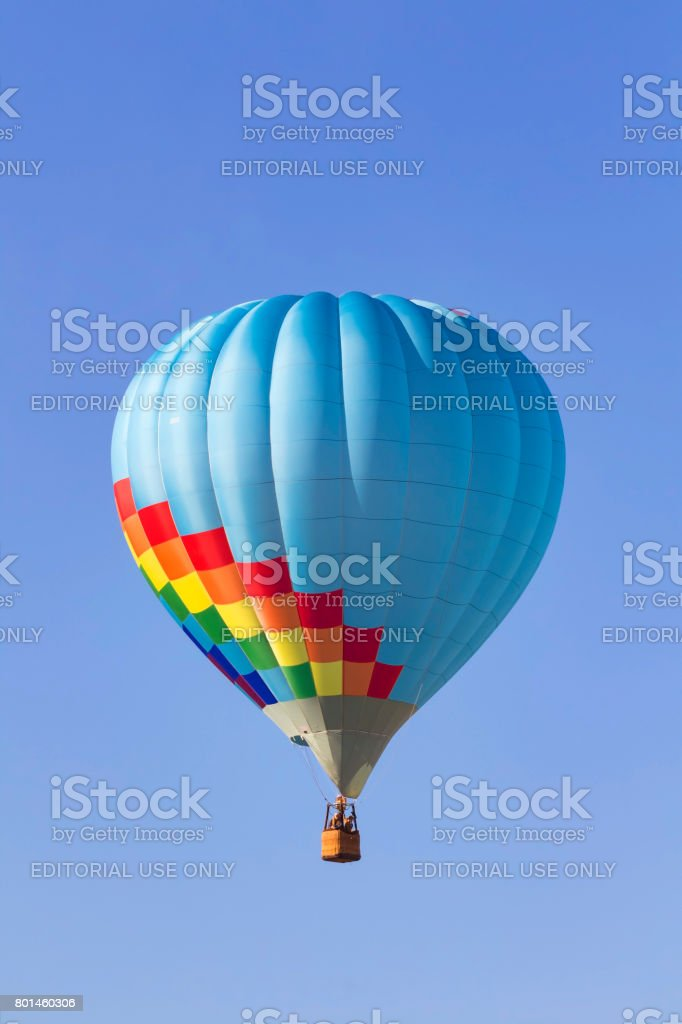 Balloon floats above winery and vineyards stock photo