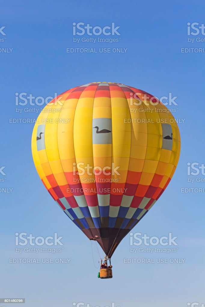 Balloon flying above California winery and vineyards stock photo