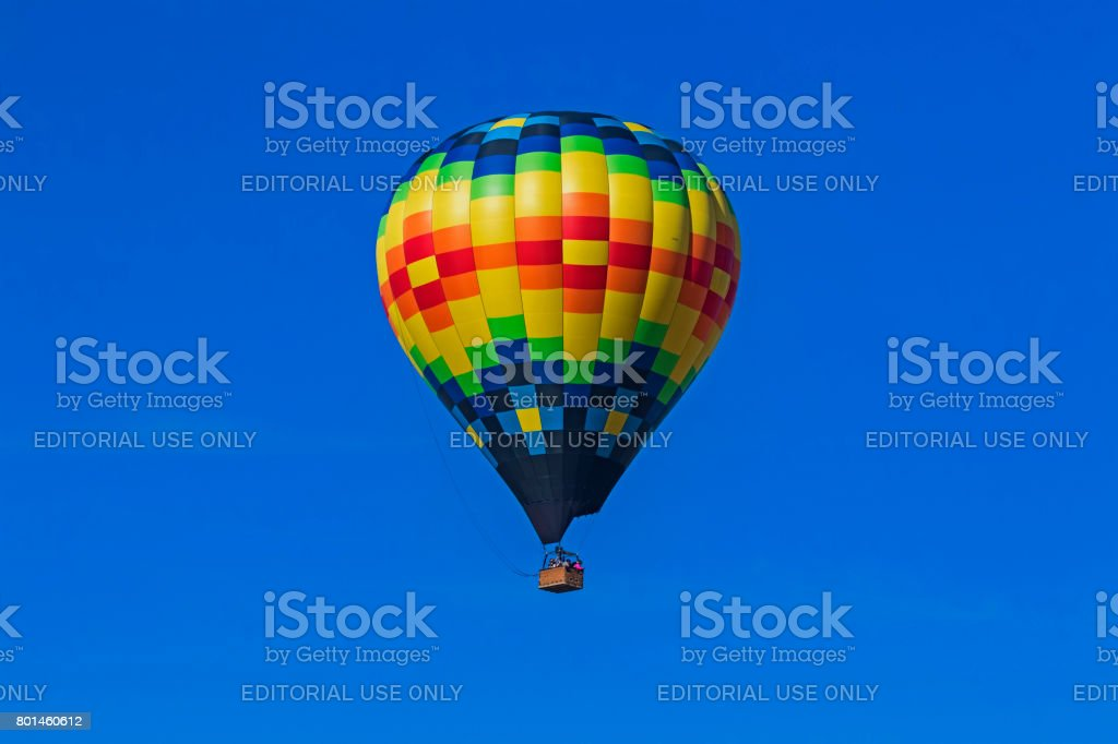 Balloon flying above winery and vineyards during festival stock photo
