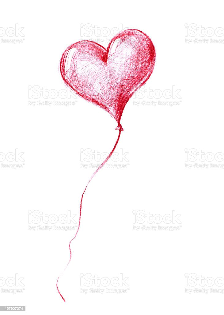 Balloon flying to the sky.Graphic illustration in Pencil Drawing stock photo
