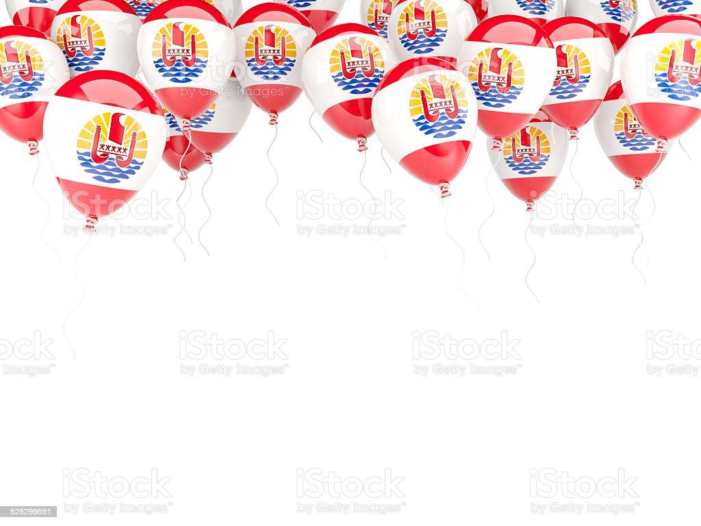 Balloon frame with flag of french polynesia stock photo