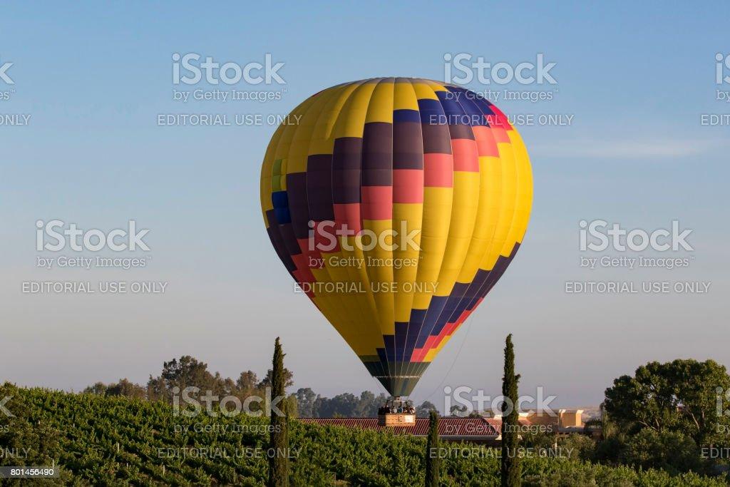 Balloon launch at California winery stock photo