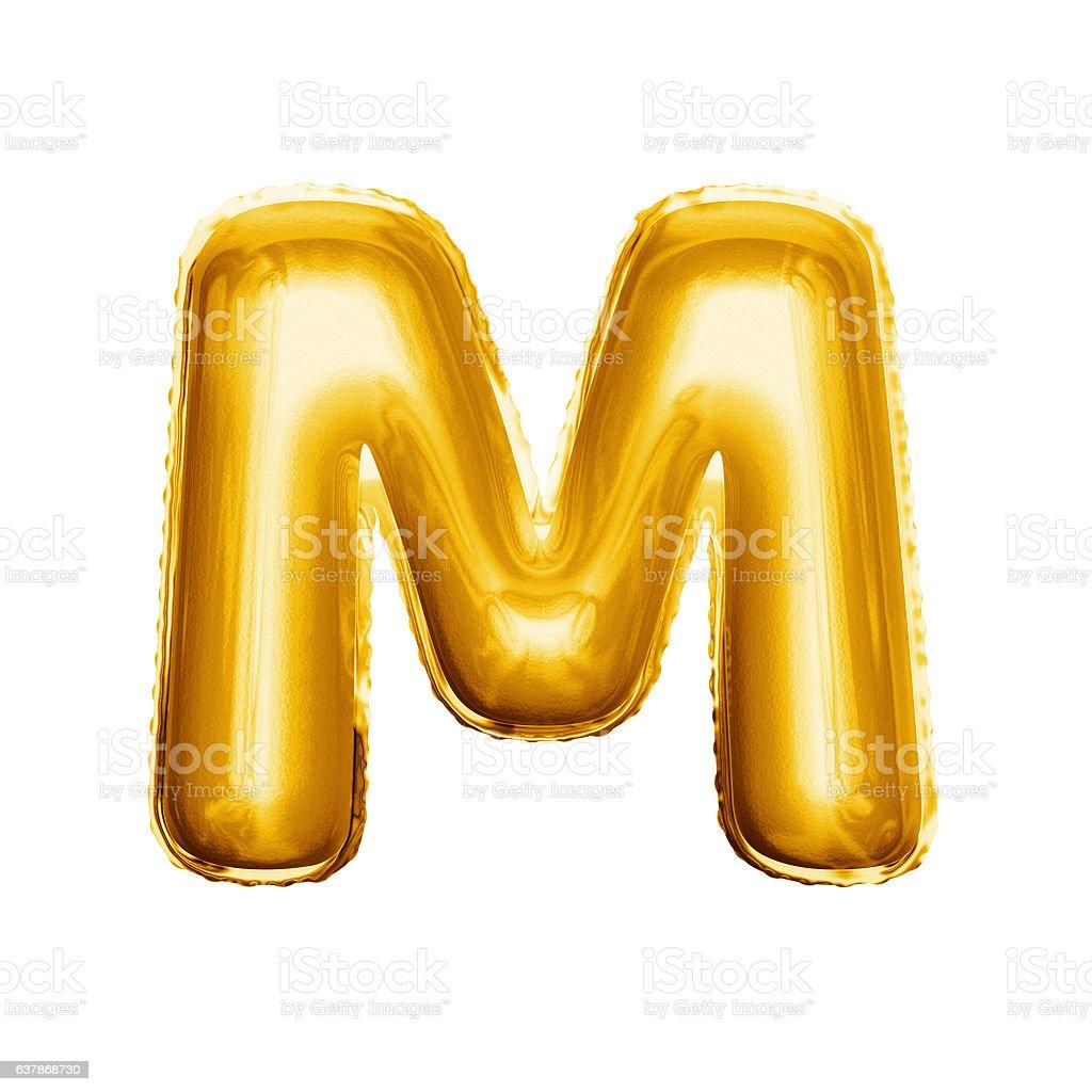 Balloon letter M 3D golden foil realistic alphabet stock photo