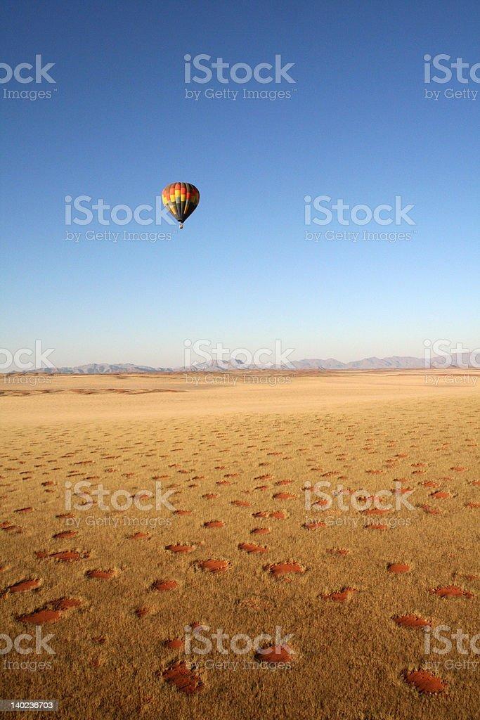 Balloon over desert stock photo