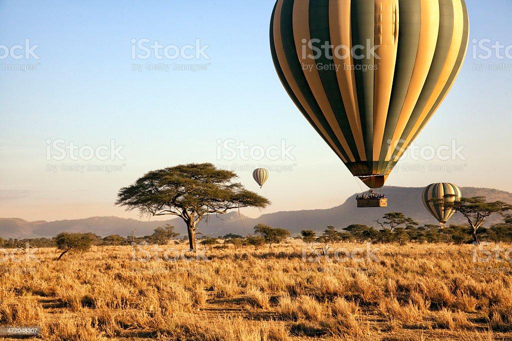 Balloon ride over the Serengeti, Tanzania stock photo