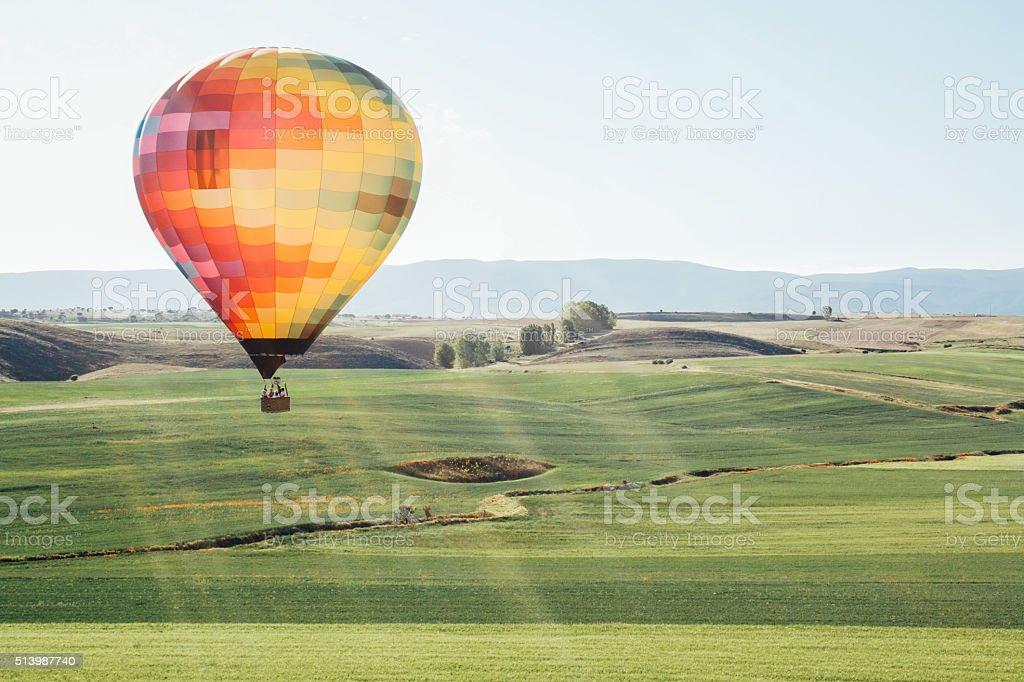 balloon ride through the countryside stock photo