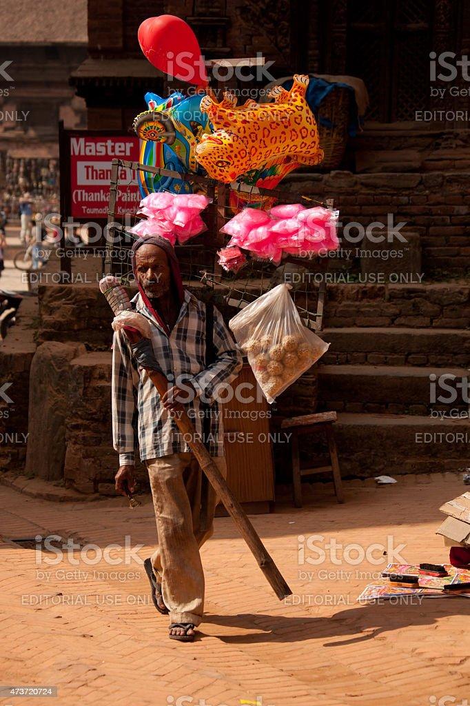 Balloon seller in Bhaktapur, Kathmandu, Nepal. stock photo