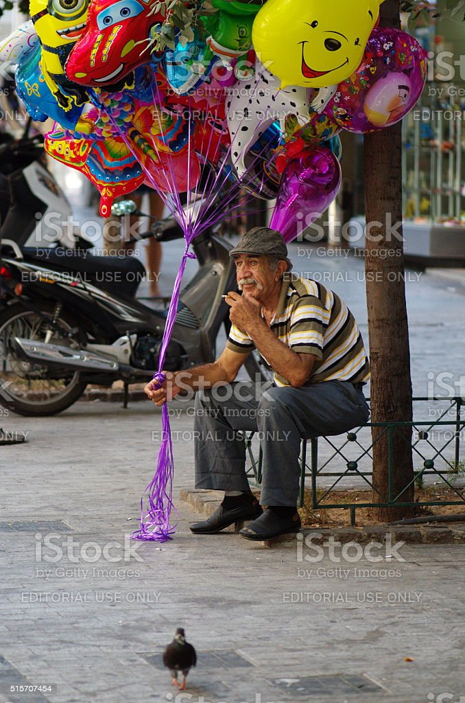 Balloon seller in the center of Athens stock photo