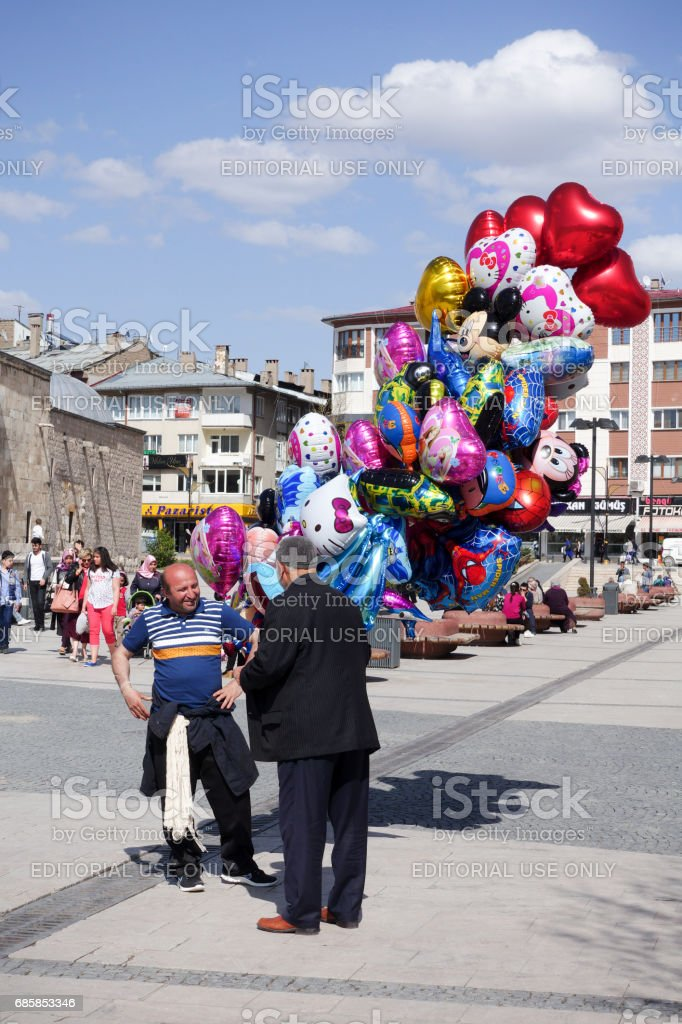 Balloon Seller near The Buruciye Madrasah stock photo