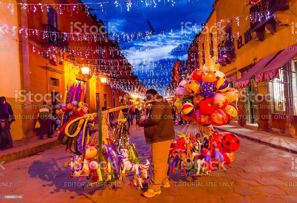 Balloon Seller Shops Night San Miguel de Allende Mexico stock photo