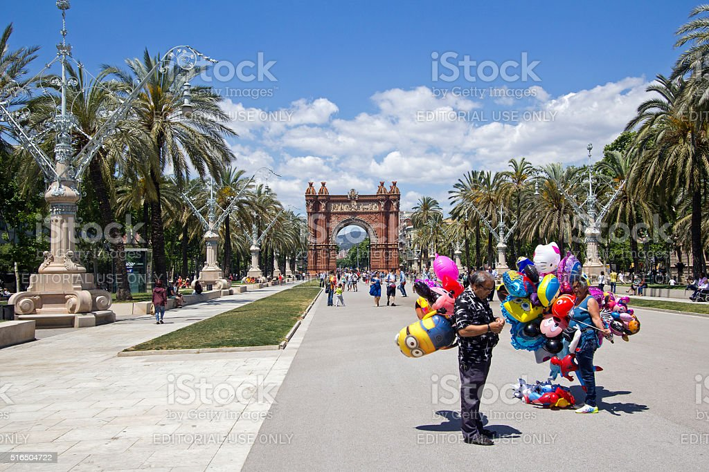 Balloon sellers in Barcelona stock photo
