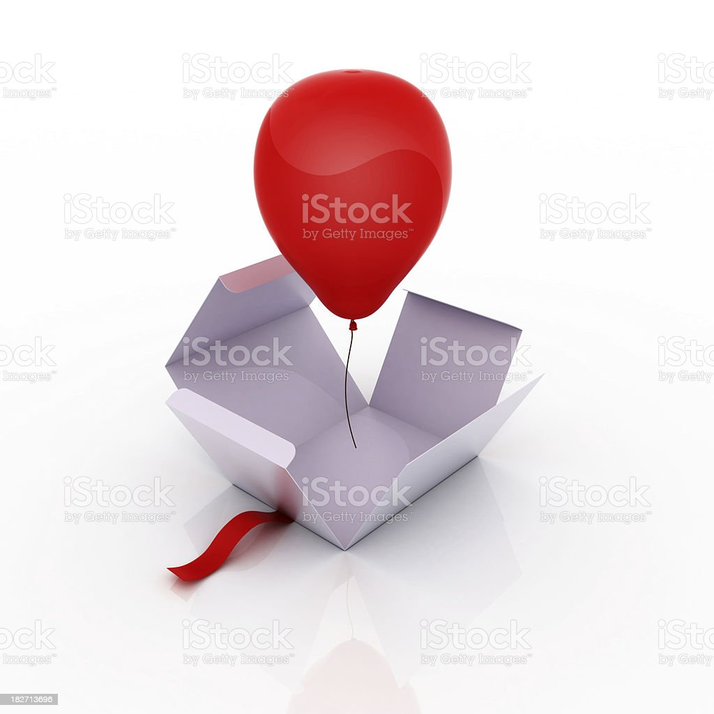 Balloon surprise box stock photo
