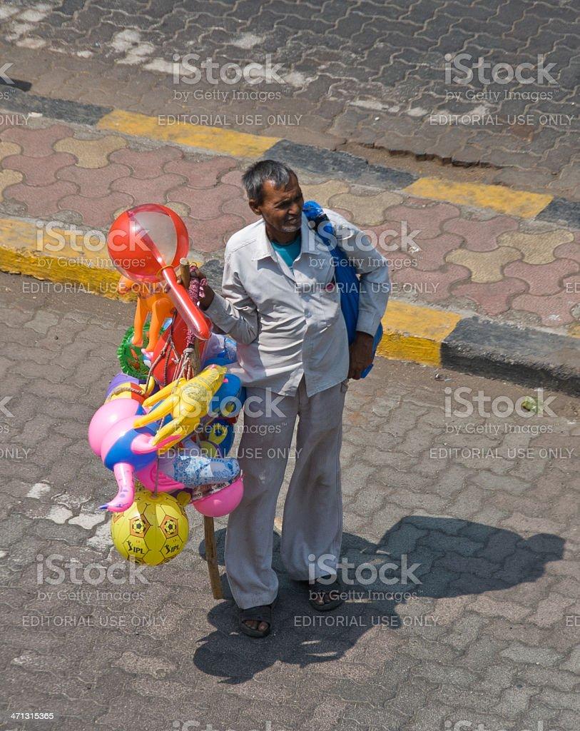 Balloon vendor in Mumbai stock photo