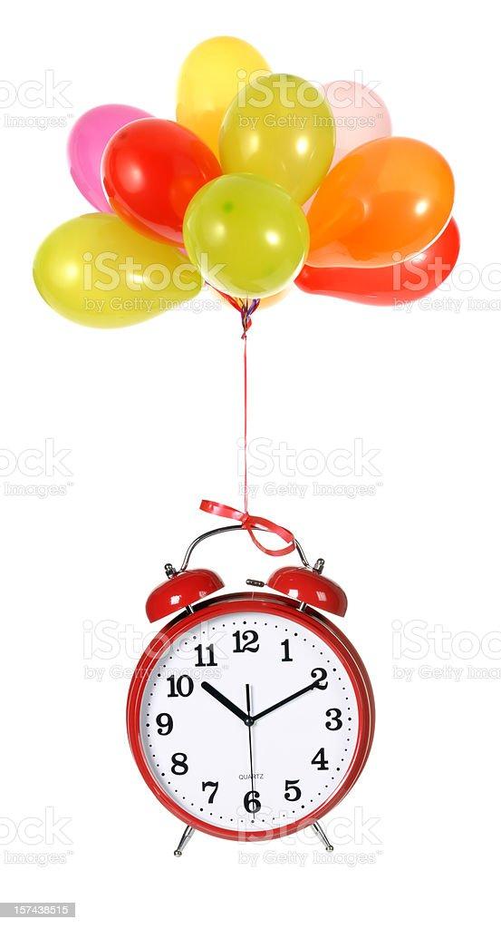 Balloons and Clock stock photo