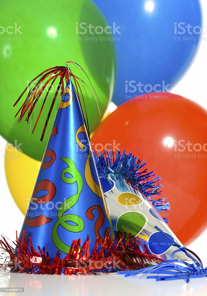 Balloons and hats royalty-free stock photo