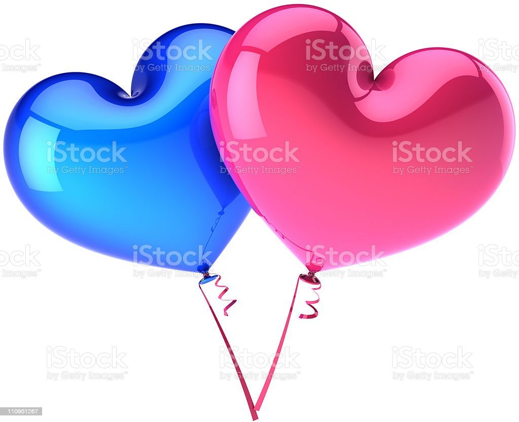 Balloons as hearts couple colored heterosexual (Hi-Res) royalty-free stock photo