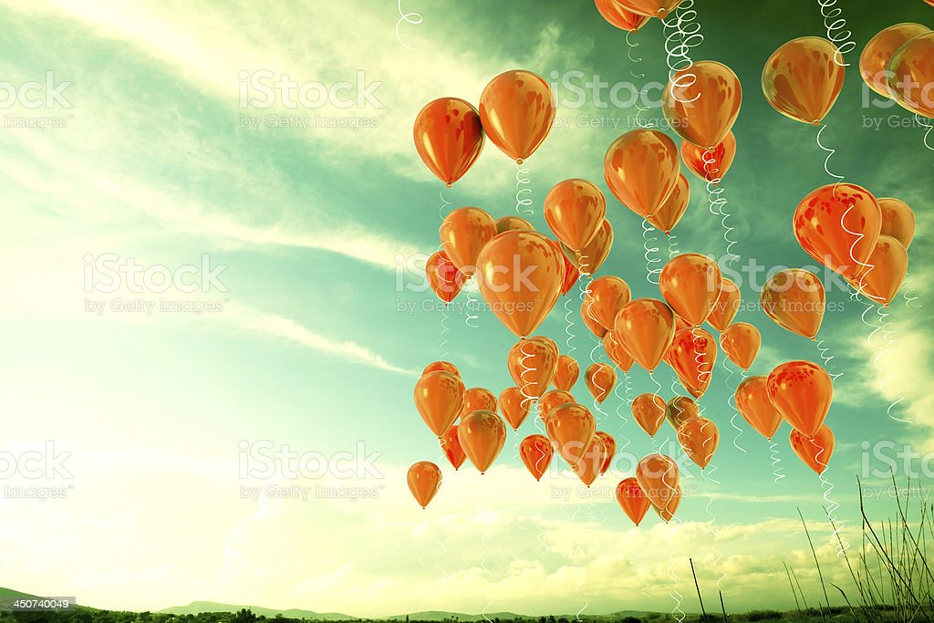 balloons background in old style stock photo