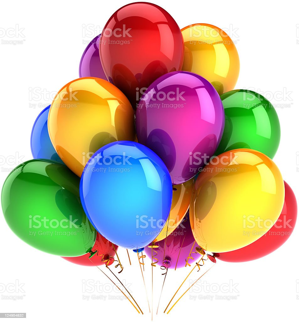 Balloons decoration of birthday party royalty-free stock photo